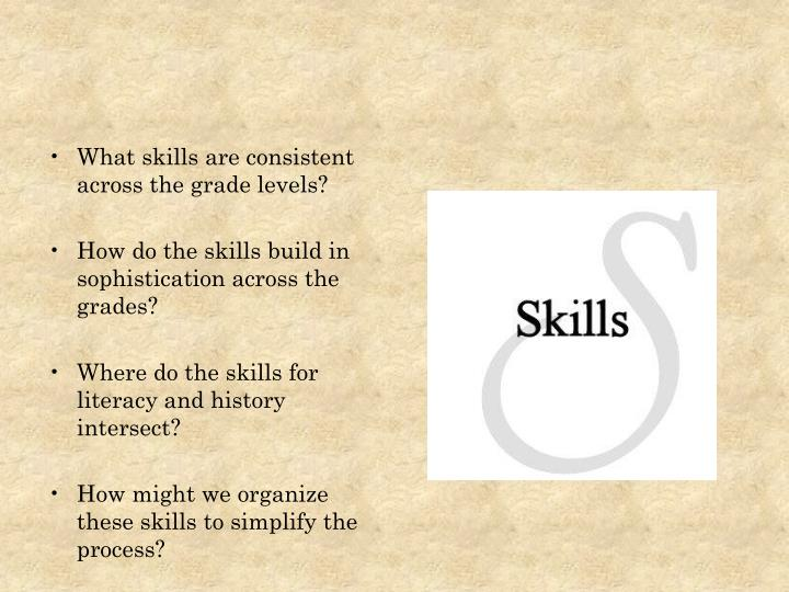 What skills are consistent across the grade levels?