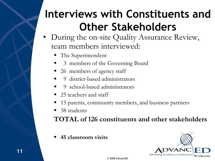 Interviews with Constituents and Other Stakeholders