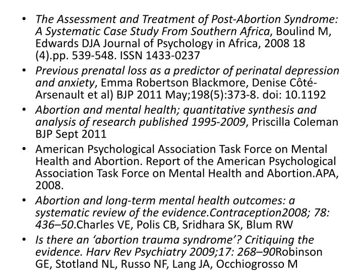The Assessment and Treatment of Post-Abortion Syndrome: A Systematic Case Study From Southern Africa