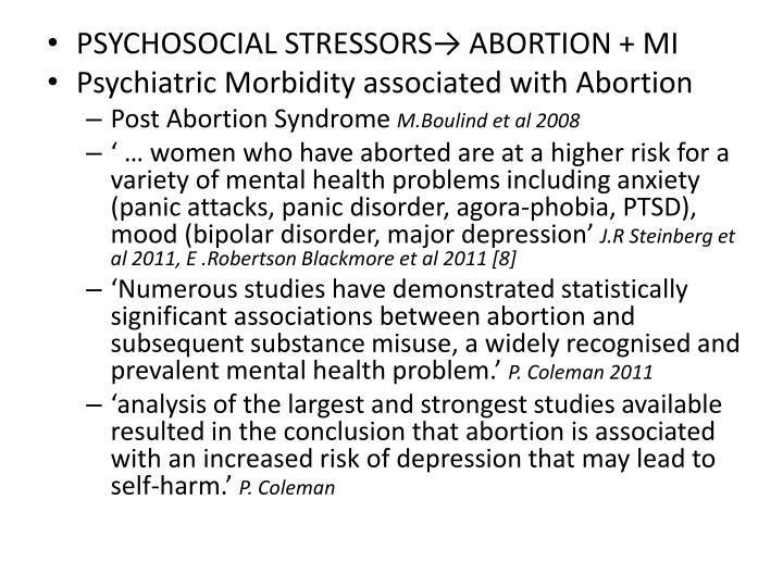 PSYCHOSOCIAL STRESSORS→ ABORTION + MI
