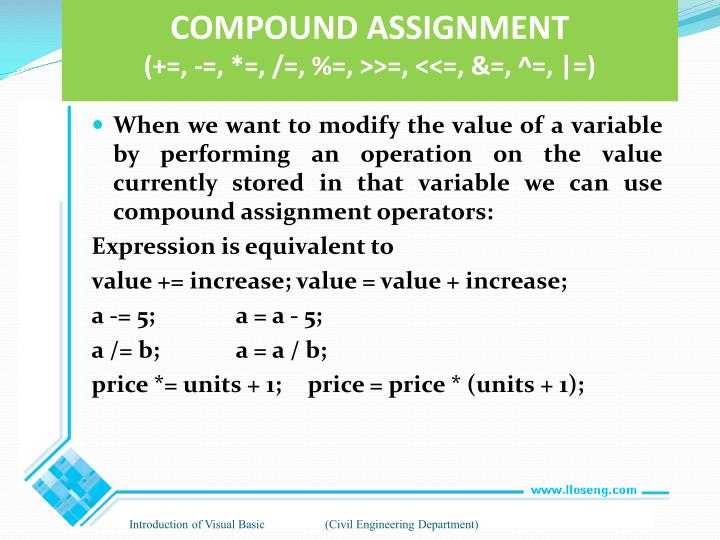 COMPOUND ASSIGNMENT