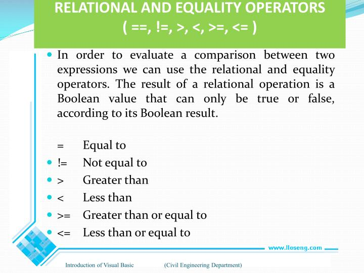 RELATIONAL AND EQUALITY OPERATORS