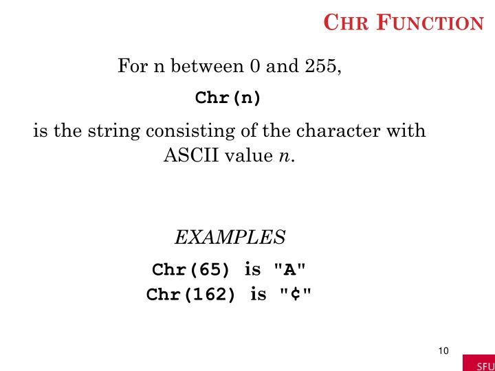 Chr Function