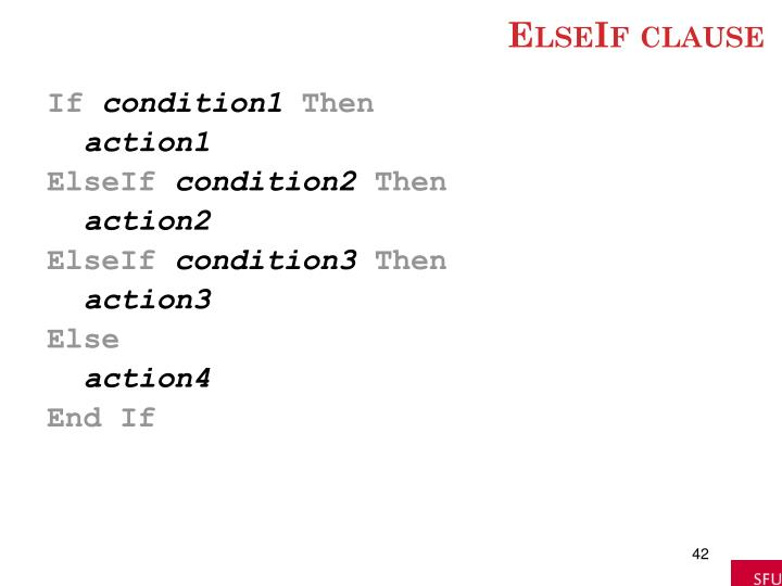 ElseIf clause