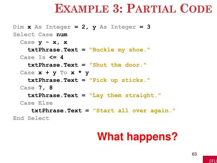 Example 3: Partial Code