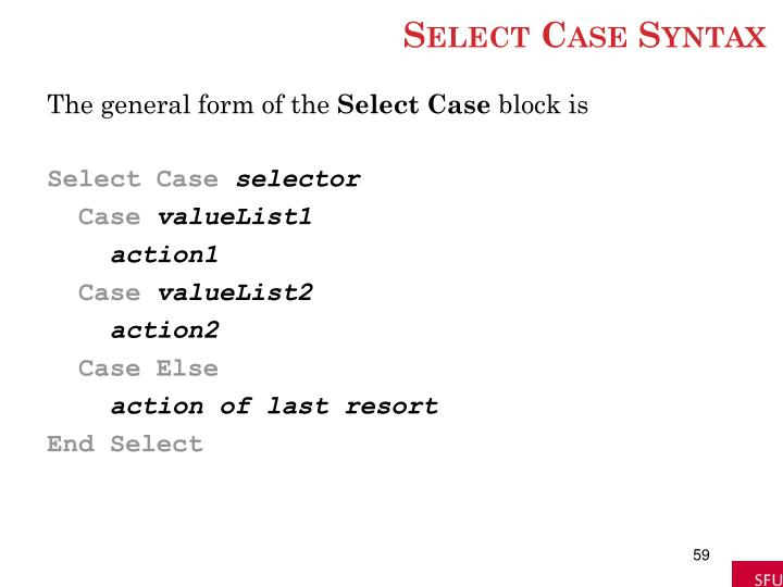 Select Case Syntax