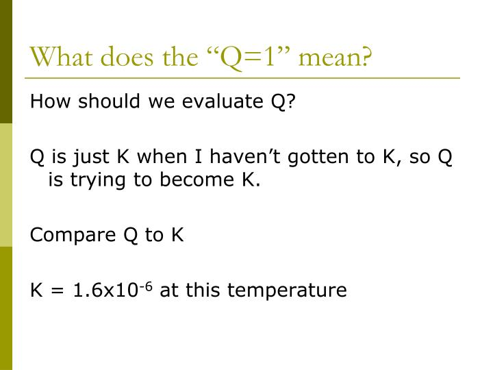 "What does the ""Q=1"" mean?"