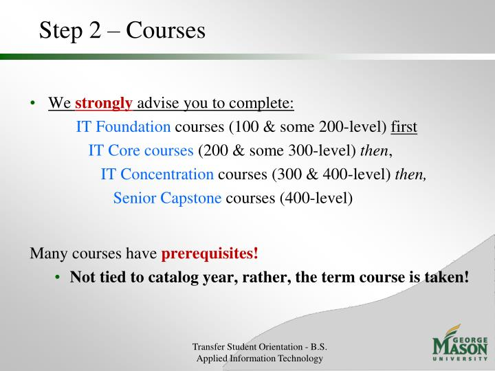 Step 2 – Courses