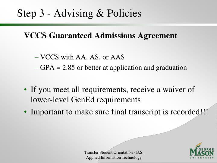 Step 3 - Advising & Policies