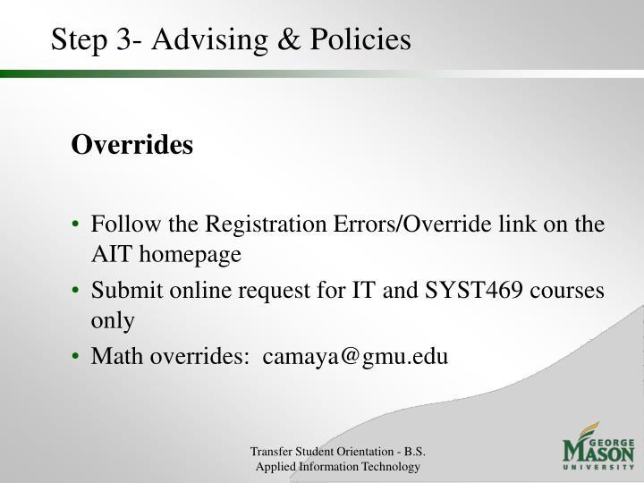 Step 3- Advising & Policies