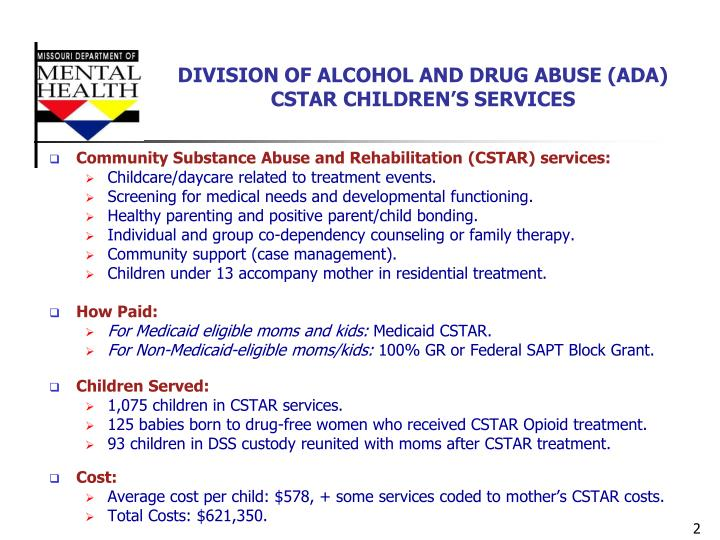 DIVISION OF ALCOHOL AND DRUG ABUSE (ADA) CSTAR CHILDREN'S SERVICES