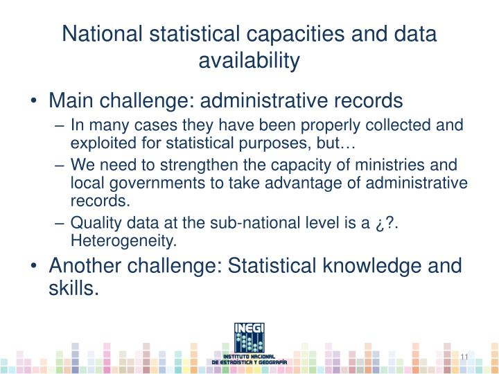 National statistical capacities and data availability