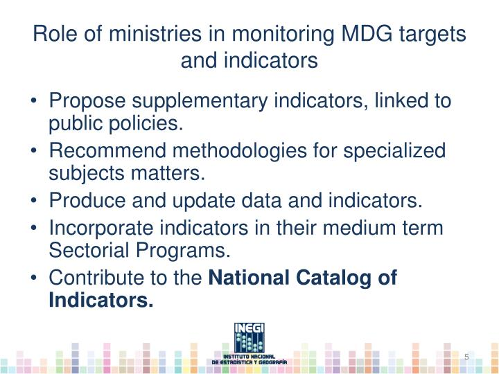 Role of ministries in monitoring MDG targets and indicators