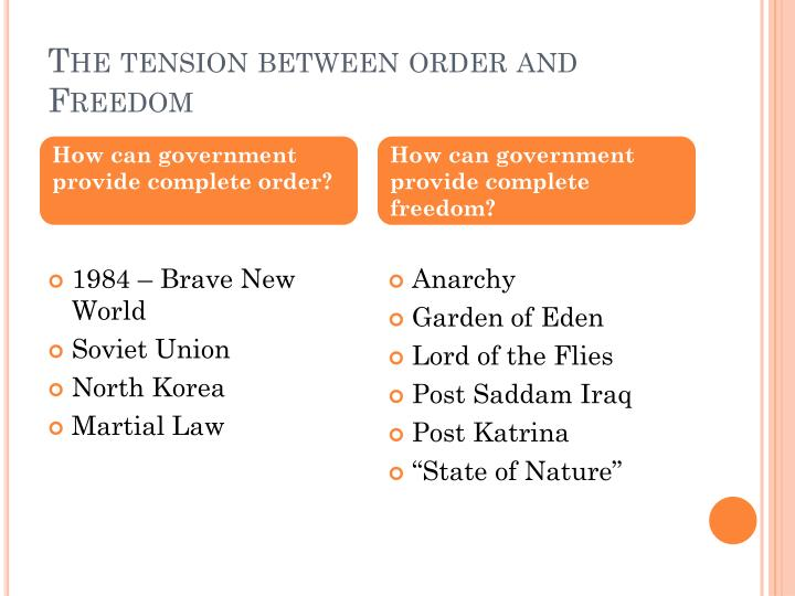 The tension between order and Freedom