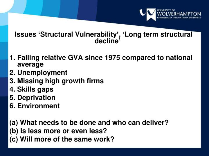 Issues 'Structural Vulnerability', 'Long term structural decline'