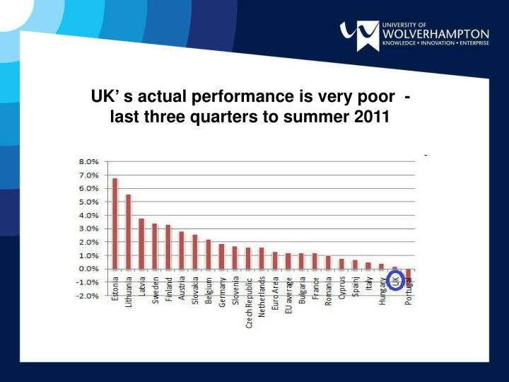 UK' s actual performance is very poor  - last three quarters to summer 2011