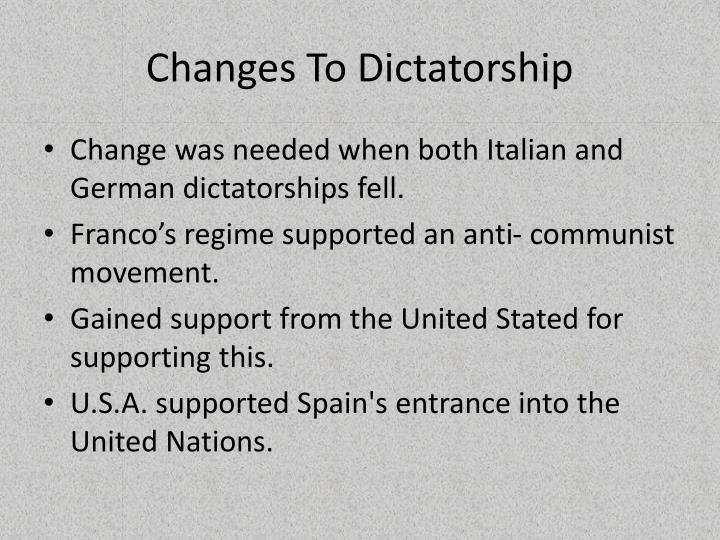 Changes To Dictatorship