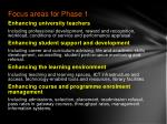 focus areas for phase 1