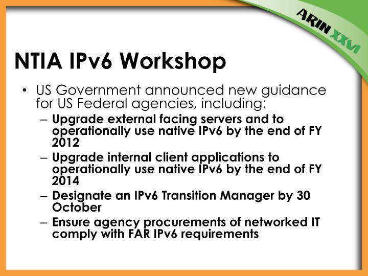 NTIA IPv6 Workshop