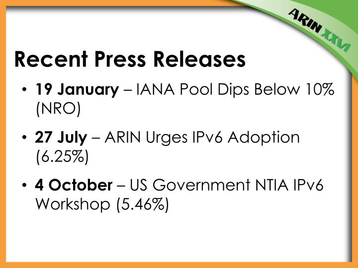 Recent Press Releases