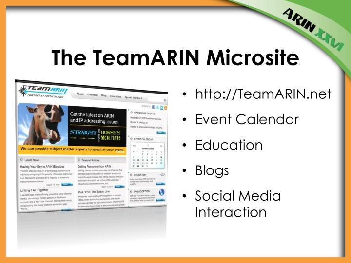 The TeamARIN Microsite
