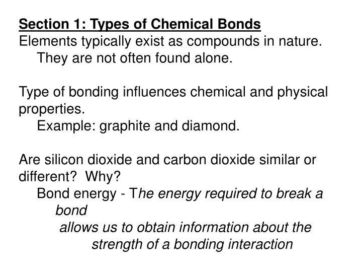 Section 1: Types of Chemical Bonds
