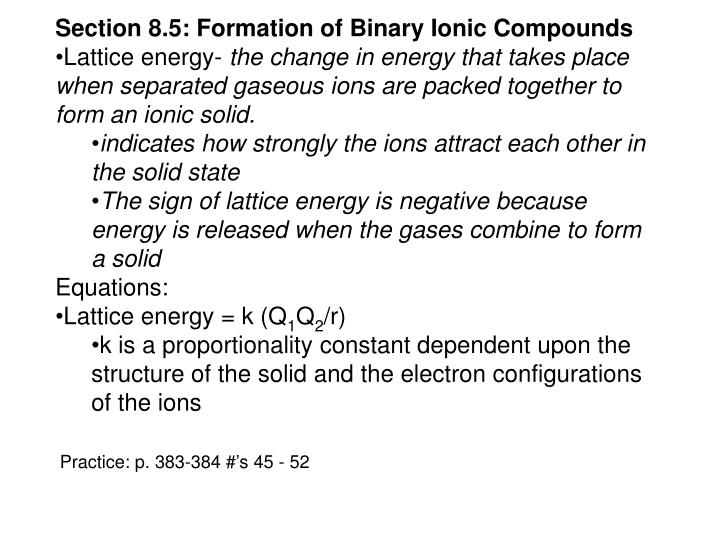 Section 8.5: Formation of Binary Ionic Compounds