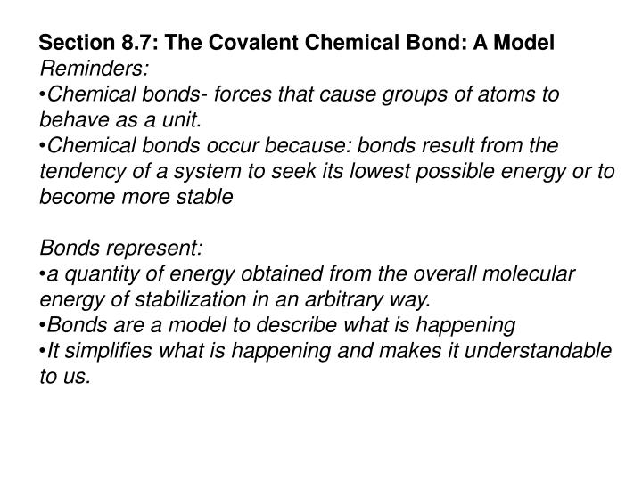 Section 8.7: The Covalent Chemical Bond: A Model
