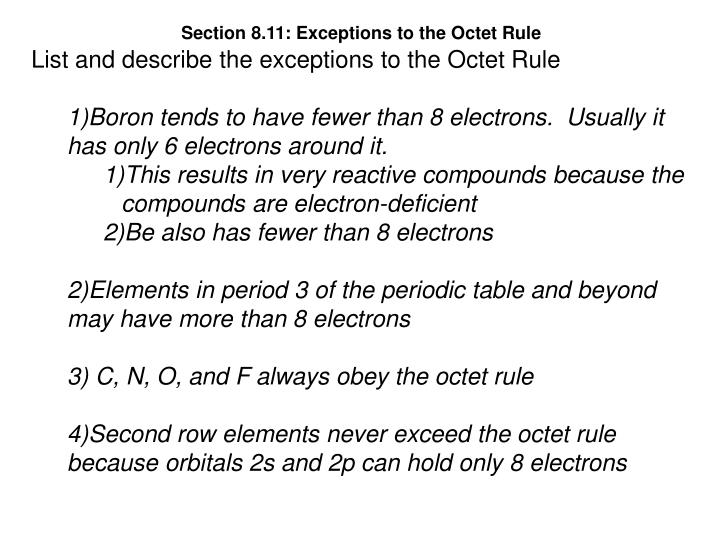 Section 8.11: Exceptions to the Octet Rule