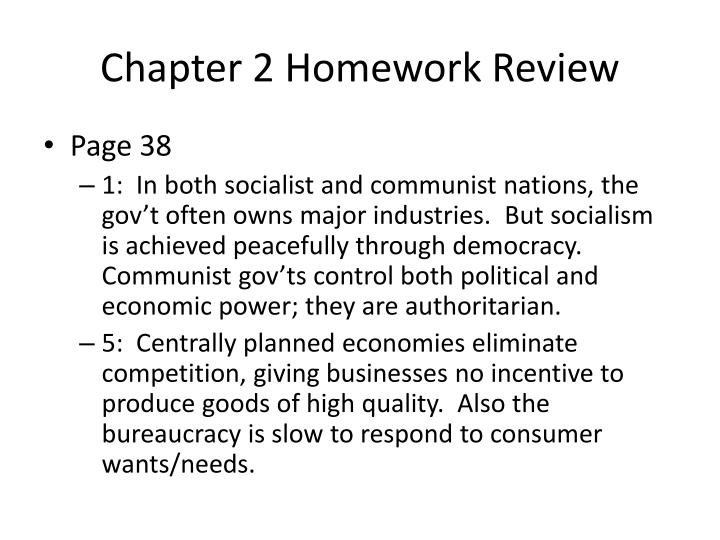 Chapter 2 Homework Review