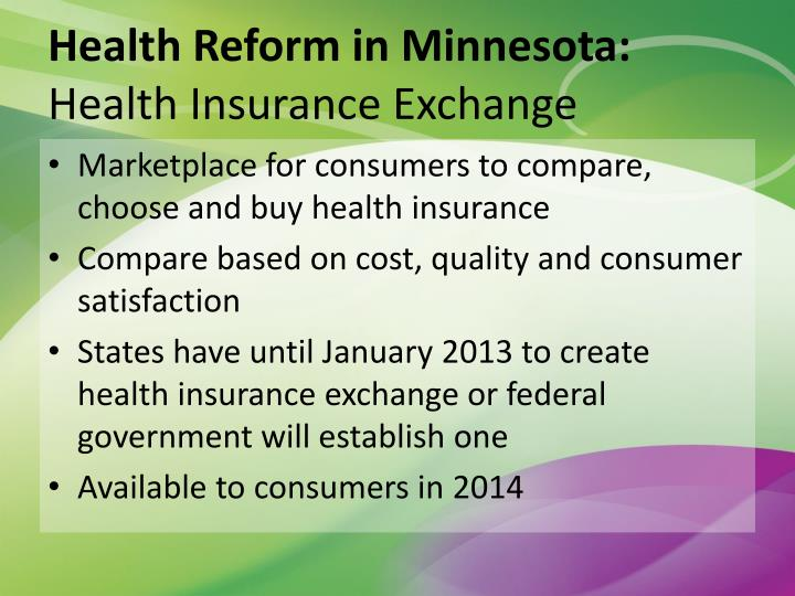 Health Reform in Minnesota: