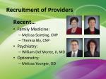 recruitment of providers