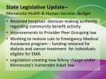 state legislative update minnesota health human services budget