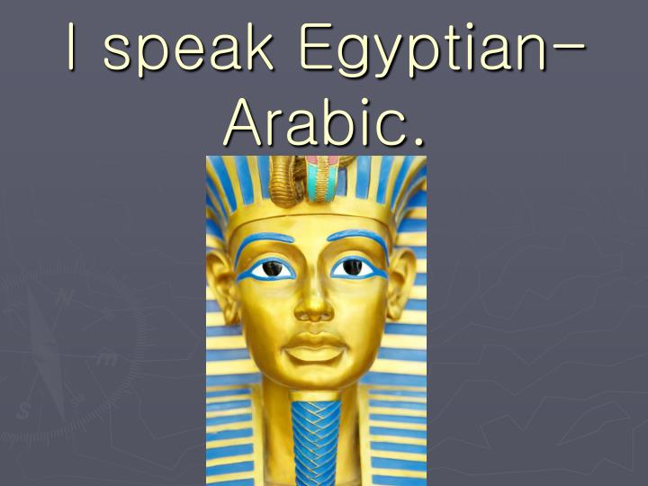 I speak Egyptian-Arabic.