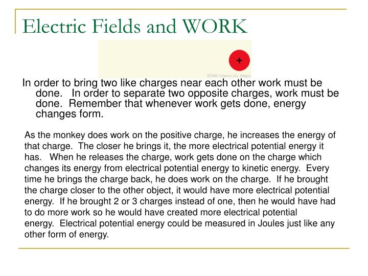 Electric Fields and WORK