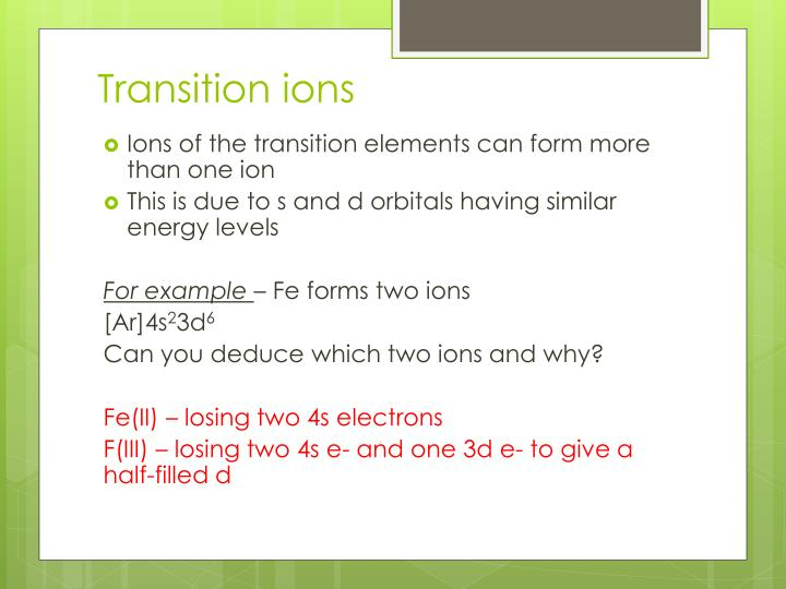Transition ions