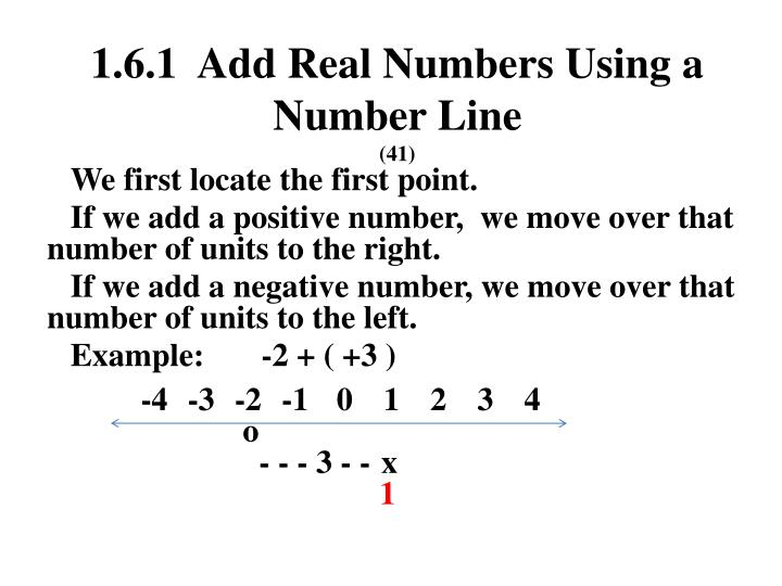1 6 1 add real numbers using a number line 41