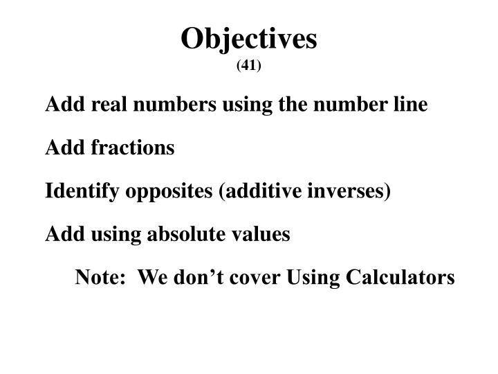 Objectives 41