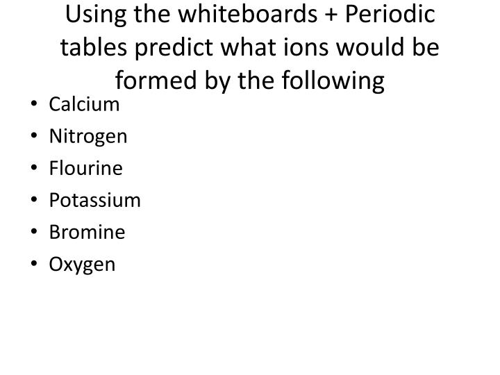 Using the whiteboards + Periodic tables predict what ions would be formed by the following