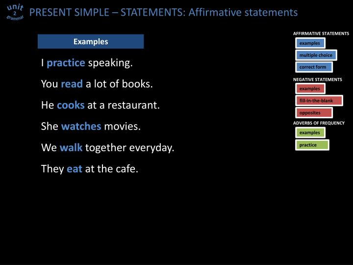 PRESENT SIMPLE – STATEMENTS: Affirmative statements