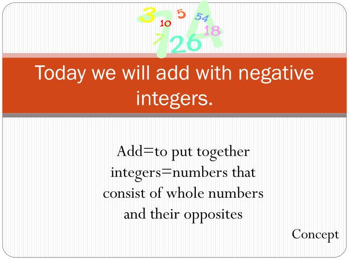 Today we will add with negative integers.