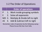 1 2 the order of operations