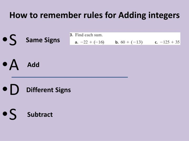How to remember rules for Adding integers