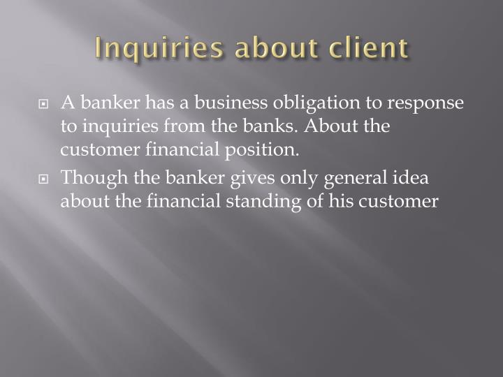 Inquiries about client