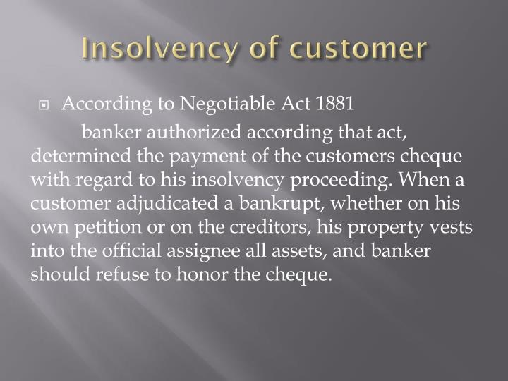 Insolvency of customer