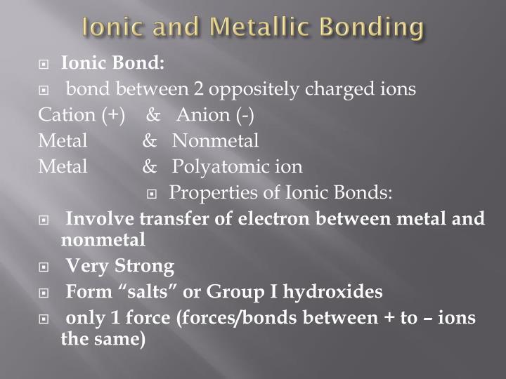 Ionic and Metallic Bonding