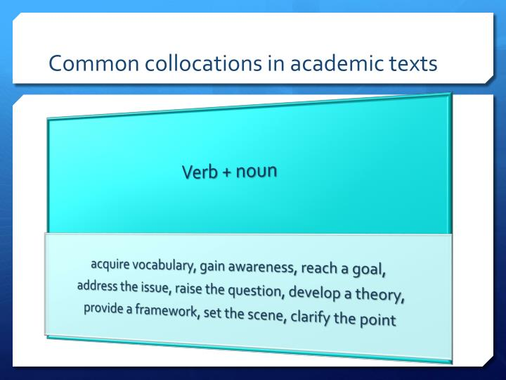 Common collocations in academic texts