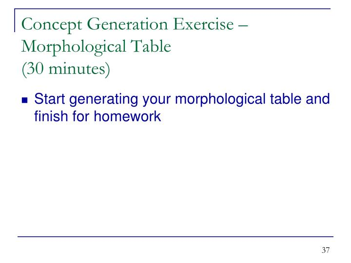 Concept Generation Exercise – Morphological Table