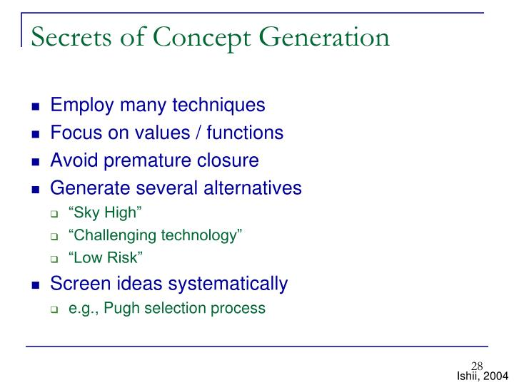 Secrets of Concept Generation