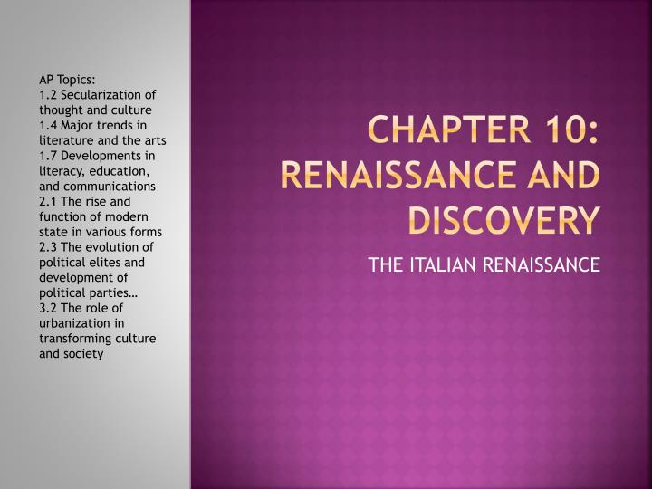 chapter 10 renaissance and discovery